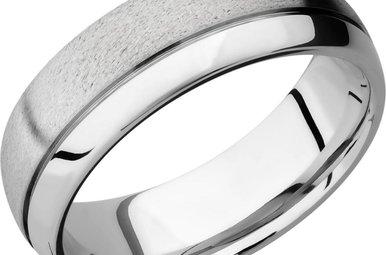 Lashbrook Cobalt Chrome Stone/Polish Men's Wedding Band (Size 9.75)