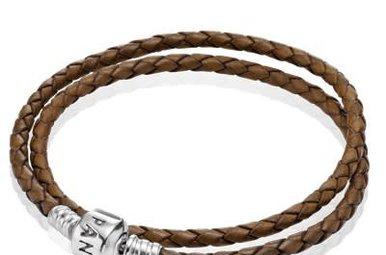 PANDORA Leather Bracelet, Double, Brown - 38 cm / 15 in