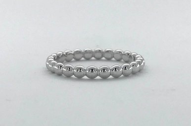 Sterling Silver Beaded Eternity Stackable Band (Size 5)