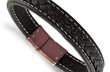 Chisel Stainless Steel Brown IP-Plated Genuine Leather Men's Bracelet 8.25""