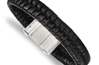 "Chisel Stainless Steel Brushed Black Leather Men's Bracelet 8.5"""