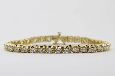 14ky 7.38ctw Round Brilliant Diamond Ladies Tennis Bracelet