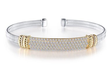 Lafonn Milano Cuff Bracelet Simulated Diamonds & Sterling Silver - 7.25""