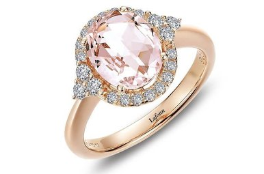 Lafonn Halo Ring Simulated Diamonds & Morganite Rose Gold Plated Sterling Silver