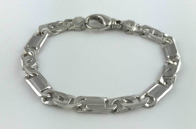Sterling Silver Polished Fancy Link Men's Bracelet 8""