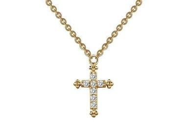 Lafonn 0.07cttw 7 Stones Mini Cross Gold Adjustable Necklace