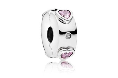 PANDORA Clip, Explosion of Love, Pink & Clear CZ, Silicone Grip