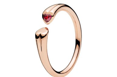 PANDORA Rose Ring, Two Hearts, Red CZ - Size 58