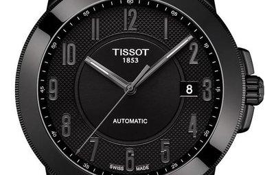 Tissot Black Dial Black Leather Men's Watch