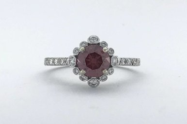 14k White Gold 1.45ctw (1.07ct Treated, Fancy Deep Pink Even* GIA Round Brilliant) Diamond Bezel Halo Engagement Ring (Size 6)
