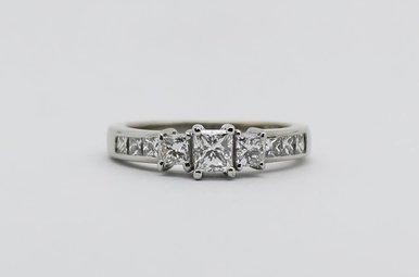 14kw 1ctw Princess Cut Diamond Past, Present & Future Engagement Ring