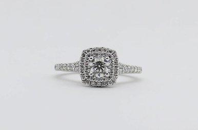 14kw 3/8ct-Ctr 7/8ctw Round Brilliant Diamond Halo Engagement Ring