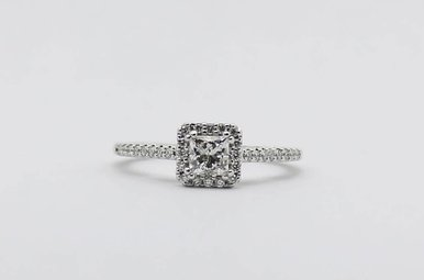 14kw 3/8ct-Ctr 5/8ctw Princess Cut & Round Brilliant Diamond Halo Engagement Ring