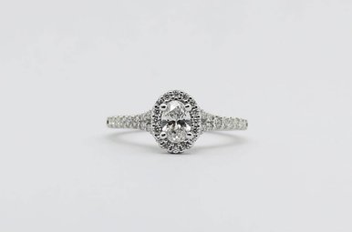 14kw 3/8ct-Ctr 3/4ctw Oval & Round Brilliant Diamond Halo Engagement Ring