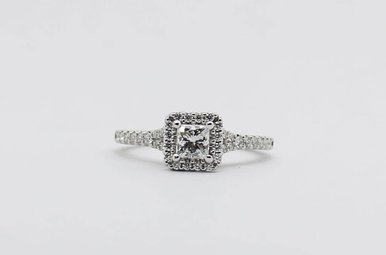 14kw 3/8ct-Ctr 3/4ctw Princess Cut & Round Brilliant Diamond Halo Engagement Ring