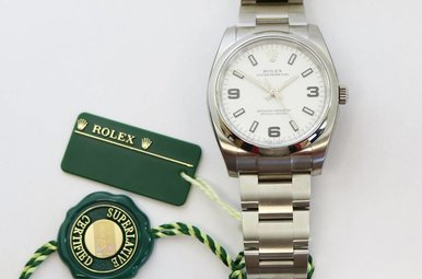 Stainless Steel Gents Oyster Perpetual Rolex with Oyster Band & White Dial
