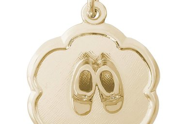 14ky Baby Booties Scalloped Disc Charm
