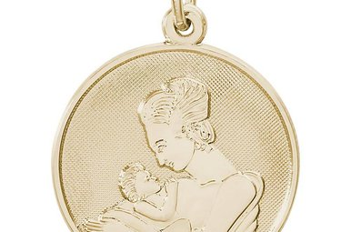 14ky Mother Holding Baby Disc Charm