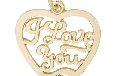 14ky I Love You Open Heart Charm