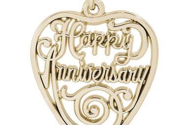 14ky Happy Anniversary Heart Charm