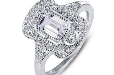 Lafonn Sterling Silver Simulated Diamond .99ctw Ladies Ring, Size 6