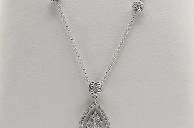14kw .62ctw Round Brilliant Diamond Drop Necklace