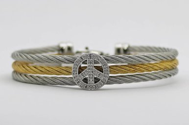 Sterling Silver & Stainless .05ctw Diamond Peace Sign Ladies Bracelet