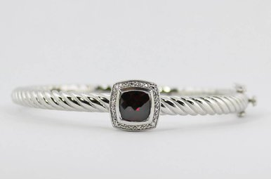 Sterling Silver & Stainless Garnet & Diamond Ladies Bangle Bracelet
