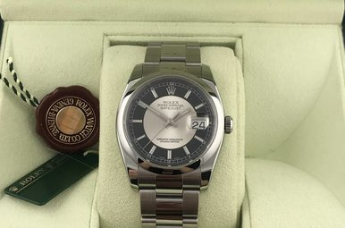 Rolex Stainless Date Just 36mm Black/Silver Dial Watch (Pre-owned)