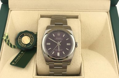 Rolex Stainless Oyster Perpetual Red Grape Dial Watch (NEW)
