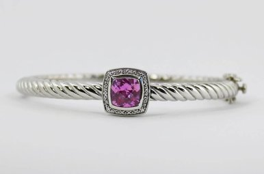 Sterling Silver & Stainless Pink Topaz & Diamond Ladies Bangle Bracelet