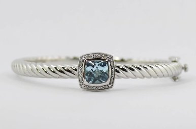 Sterling Silver & Stainless Blue Topaz & Diamond Ladies Bangle Bracelet