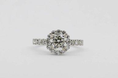 14kw 1.17ct-Ctr (K/VVS2) 3/4ctw-Mntg Round Brilliant Diamond Halo Engagement Ring