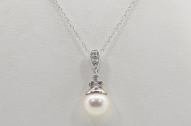 Sterling Silver 6.5mm Freshwater Pearl & Diamond Accent Pendant