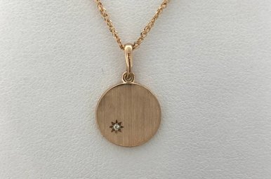 14k Rose Gold .005ctw Diamond Brushed/Polished Engravable Disc Pendant Necklace