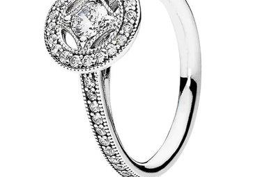 PANDORA Ring, Vintage Allure, Clear CZ - Size 56