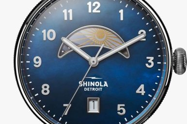 Shinola Canfield Day & Night 38mm, Navy Blue MOP Dial, Polished Bracelet Watch