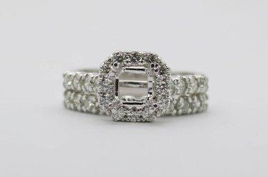 14kw 1.4ctw Round Brilliant Diamond Halo Semi Mount Wedding Set