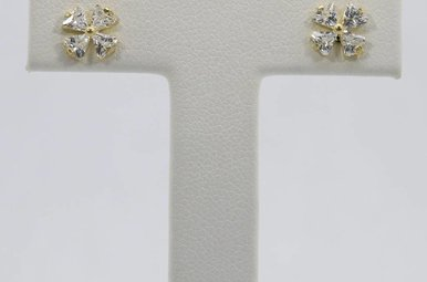 14ky Cubic Zirconia Flower Stud Earrings