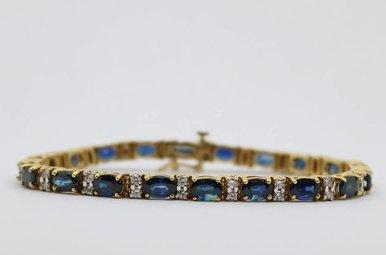14ky 1.25ctw-Dia Blue Sapphire & Diamond Ladies Bracelet