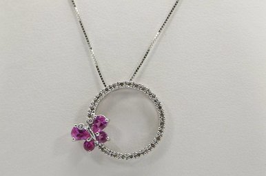 10kw Pink Topaz & Diamond Butterfly Circle Pendant