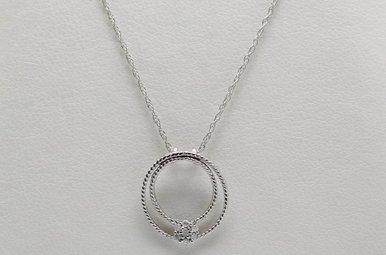 10kw Diamond Accent Circle Pendant