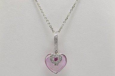 14kw Pink Topaz & Diamond Heart Pendant