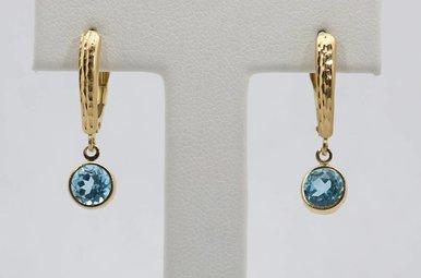 14kw Blue Topaz Dangle Earrings