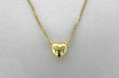 """14k Yellow Gold Puff Heart Slide Pendant Necklace (16"""" box chain)"""