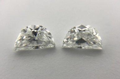 0.50ctw G-H/SI1 Half Moon Cut Diamonds (Matched pair)