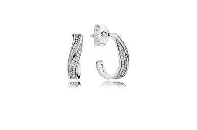 PANDORA Earrings, Elegant Waves, Clear CZ