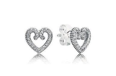 PANDORA Stud Earrings, Heart Swirls, Clear CZ