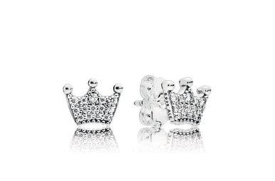 PANDORA Stud Earrings. Enchanted Crowns, Clear CZ