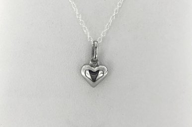 """Sterling Silver Puff Heart Pendant Necklace (16-18"""")"""